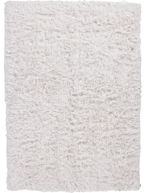 Ivory /White Solid Pattern Shag Rug - VR06, 5x8 midcentury-rugs