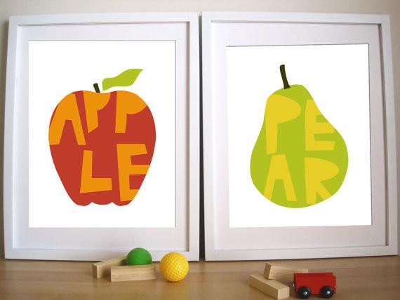 Modern Nursery Art Print, Apple and Pear by Urban Tickle modern-nursery-decor