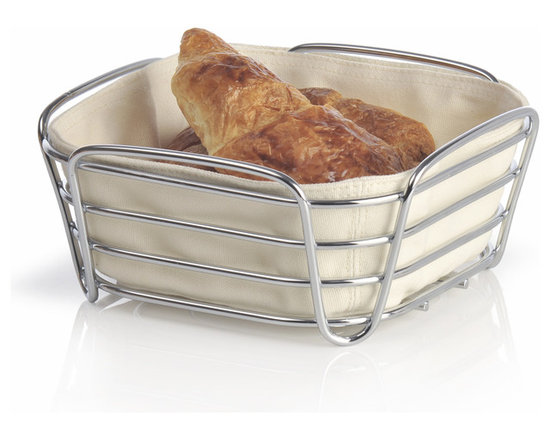 Blomus - Delara Bread Basket, Sand, Large - The Blomus Delara Bread Basket is made with chrome-plated steel and cotton fabric insert.
