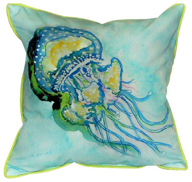 Betsy Drake Jelly Fish Pillow- Indoor/Outdoor beach-style-outdoor-pillows