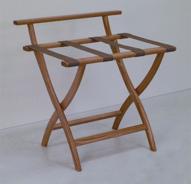 Luggage Rack w Standard Tan Webbing in Light traditional-clothes-racks
