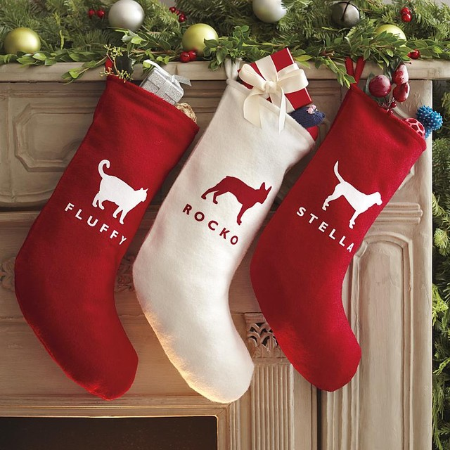 Custom Graphic Felt Stocking contemporary holiday decorations