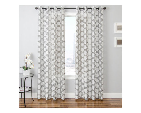 Grandin Road - Riva Burnout Sheer Drapery Panel - Patterned sheer curtain panel featuring a hexagonal pattern finished with a distinctive burnout texture. Each panel is sold separately. 80% polyester for durability, 20% rayon for a pleasing sheen. Each panel hangs from eight nickel-toned grommets. See our selection of curtain rods (sold separately). Dress your window with the Riva Burnout Sheer Panel; it's a sheer curtain detailed with a versatile, hexagonal design, so you can enjoy diffused light and a designer look with just one drapery layer. Sheers are an excellent way to protect furnishings and rugs from exposure to strong sunlight, and still let light into a space. Select one of the neutral color combinations to complement your room - hang one alone or layer it with additional decorative panels for a designer look.  .  .  .  .  . Dry clean only . Imported.