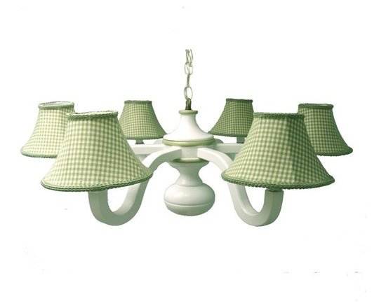 Sage Gingham Six Arm Spindle Chandelier - This six arm spindle chandelier is antique finished in white and accented in dusty green bands to coordinate with our sage gingham custom lampshades. Light up your cottage with our sweet wooden chandeliers.