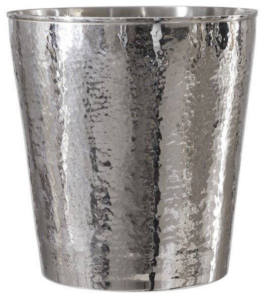 Hammered Nickel Wastebasket traditional-waste-baskets