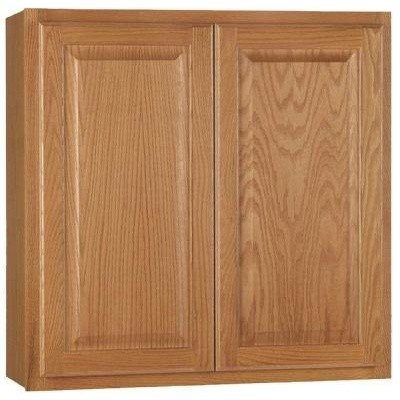 Hampton Bay 30x30x12 in. Wall Cabinet in Medium Oak KW3030-MO - Contemporary - Kitchen Cabinetry ...