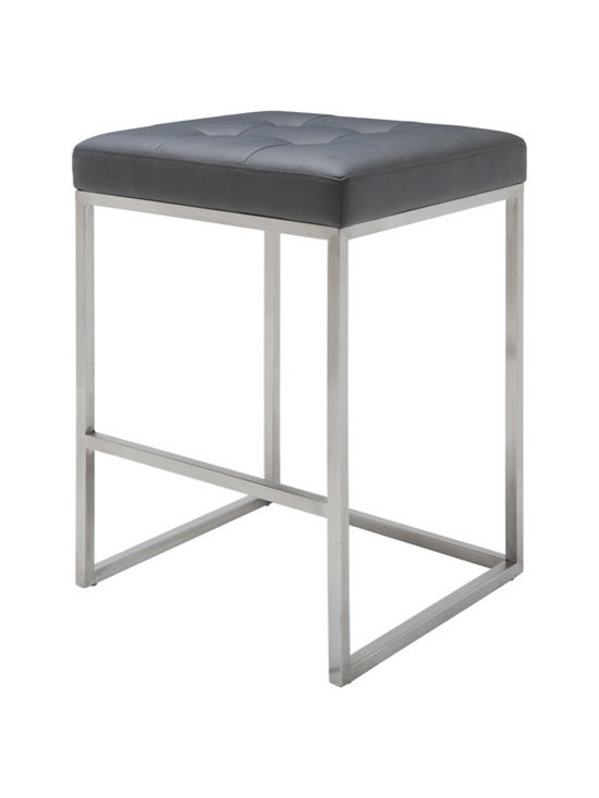 Nuevo Chi Counter Stool - Chi is a modern stool with a classical design style. Chi is made with a brushed stainless steel frame and a CFS foam padded seat covered in Nauga eco leather. Avilable in white, black and grey. Dimensions: 18 x 18 x 30H; seat height: 30; seat depth: 18; footrest height: 12 (inches).
