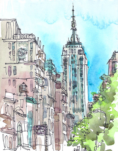 New York Art Print by Sketch Away traditional artwork