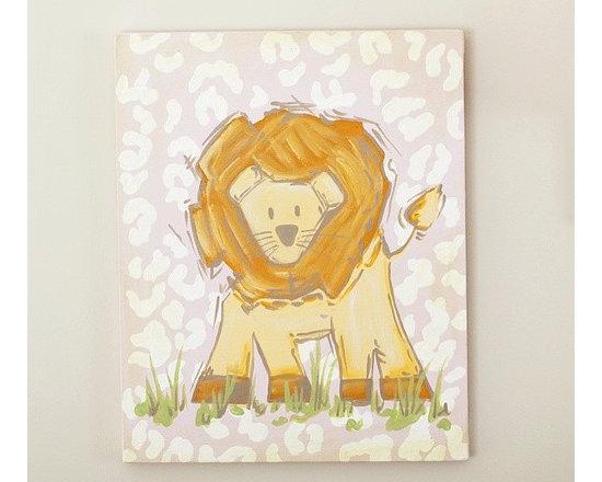 Pink Safari Lion Canvas -