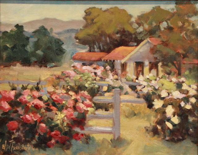 'Ranch Roses' Framed Oil Painting traditional-paintings