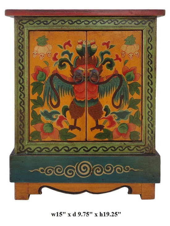 Tibetan Mystery Bird & Flower Graphic Solid Wood End Table / Small Cabinet - This Tibetan end table is made of solid elm wood and hand painted with mystery bird & flowers graphic on the top and front.