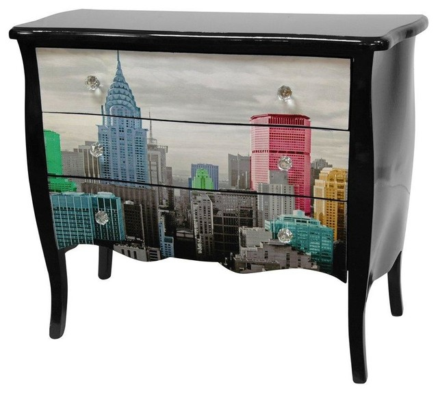 Colorful NYC Three Drawer Cabinet - Modern - Accent Chests And Cabinets - by Oriental Furniture