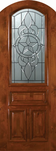 Slab Single Door 96 Wood Alder Brazos Arch Top Arch Lite Glass mediterranean-front-doors