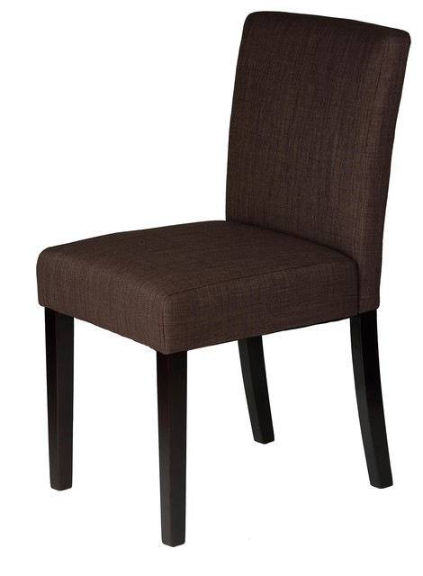 Alena linen fabric low back dining chair brown set of 2 for Modern low back dining chairs