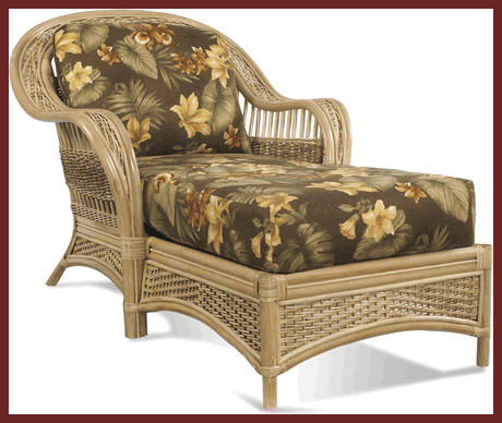 Rattan chaise traditional outdoor chaise lounges for Bamboo chaise lounge