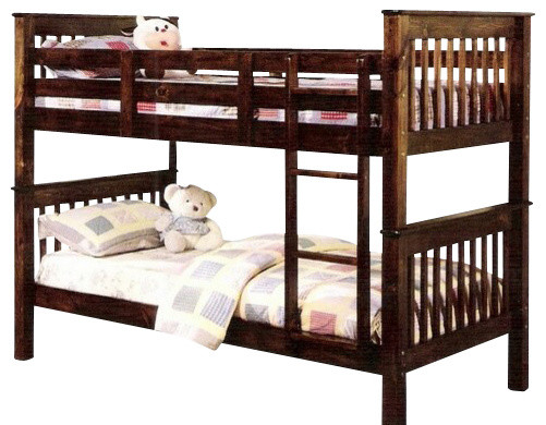 Haley Walnut Finish Wood Mission Style Twin Over Twin Bunk Bed Set traditional-kids-beds