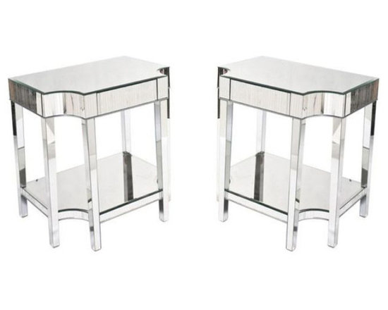Pair of Faceted Mirrored Side Tables - $1,200 Est. Retail - $600 on Chairish.com -