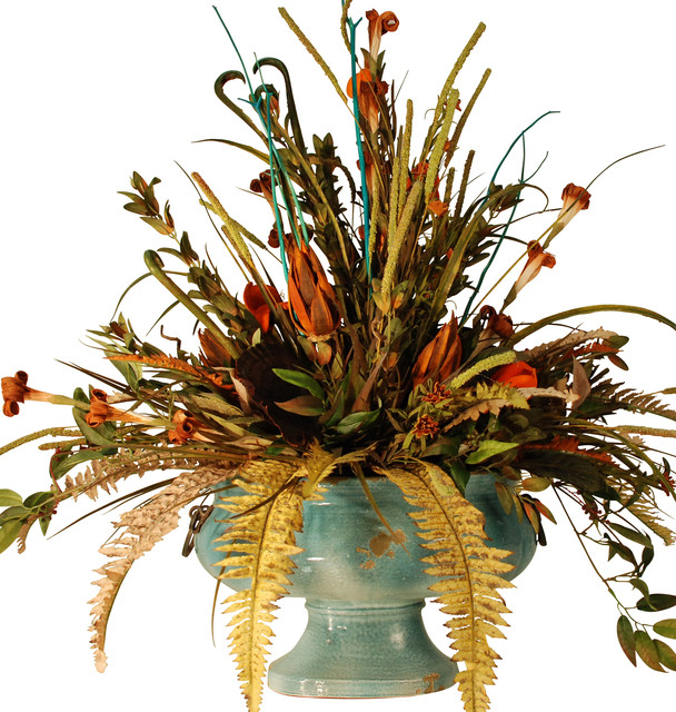 Large Floral Centerpiece in Turquooise Ceramic Bowl rustic-artificial-flowers