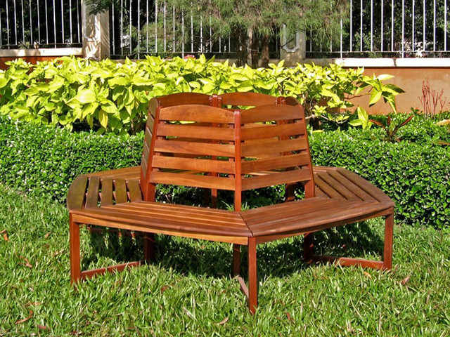 Acacia Sectional 6 Sided Tree Trunk Bench Traditional Garden Furniture By