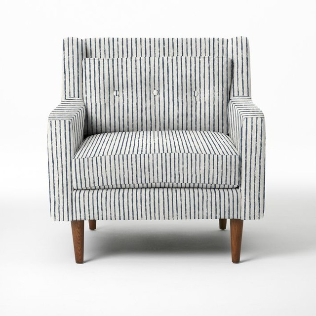 Crosby Armchair Painted Stripe Regal Blue Modern Armchairs And Accent Chairs By West Elm