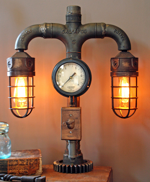 Machine Age Lamps Steampunk Gear Steam Gauge Eclectic Table Minneapolis By