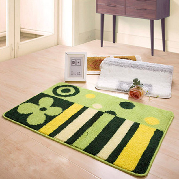 Fresh Green Flower Stripe Rug Bath Mat contemporary