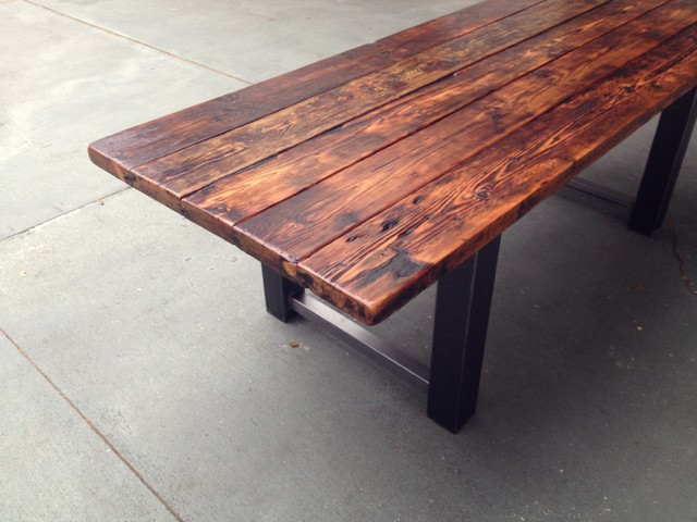 Reclaimed Wood And Metal Dining Table Modern Dining Tables Other Metro By The Coastal