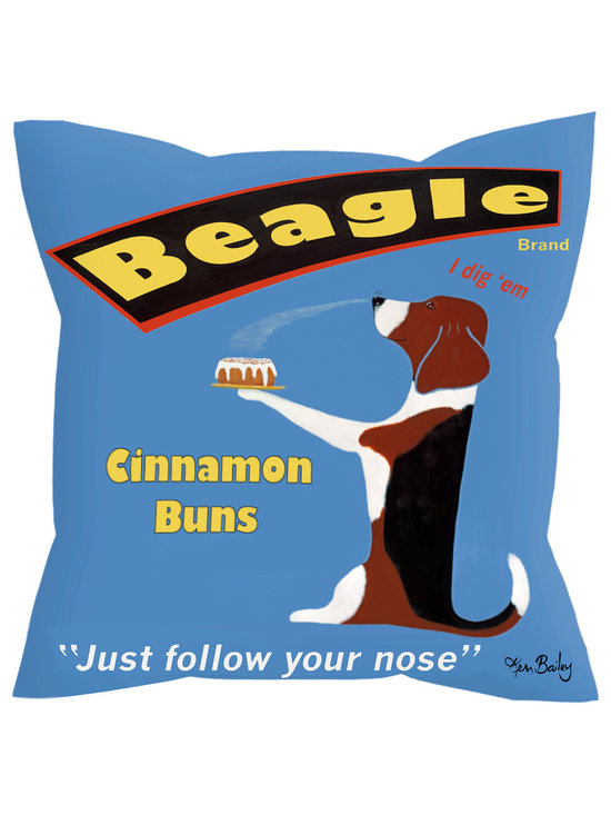"""Beagle Cinnamon Buns Pillow - Beagle Cinnamon Buns....... 18"""" x 18"""" pillow with concealed zipper and feather & down insert (95/5). 100% Eco friendly material printed with non toxic, non fading dyes. Front 100% polyester from recycled plastic bottles. Back 65% polyester from recycled plastic bottles; 35% organic cotton. Artwork by Ken Bailey and made in USA"""