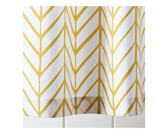 Serena & Lily - Mustard Feather Shower Curtain - Our take on timeless herringbone and chevron patterns, printed lines are loosely rendered for that extra design element. Mix or match with our signature bath towels and have fun finding your own fresh combos of patterns and colors.