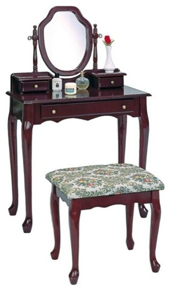 Cherry Finish Wood Bedroom Vanity Set With Large Drawer And 2 Smaller Drawe