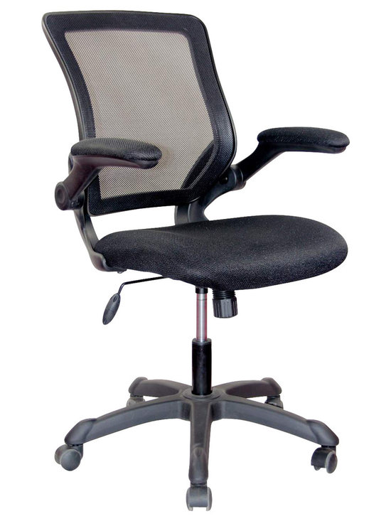 Techni Mobili - Techni Mobili Mesh Task Chair w/ Flip-Up Arms in Black - Mesh Task Chair w/ Flip-Up Arms in Black by Techni Mobli The TechniMobili Mesh Task Chair is a fun, lightweight office chair that features breathable mesh back support, fabric mesh seat cushion, flip-up armrests, height adjustable seat , durable nylon base with non-marking casters. Ready and easy to assemble. COLOR: BLACK  Office Chair (1)