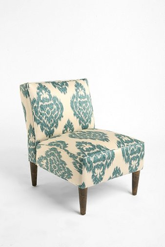 Slipper Chair, Turquoise Ikat - contemporary - chairs - by Urban ...