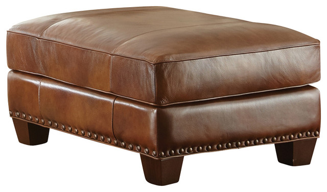 Steve Silver Silverado Ottoman In Caramel Brown Leather