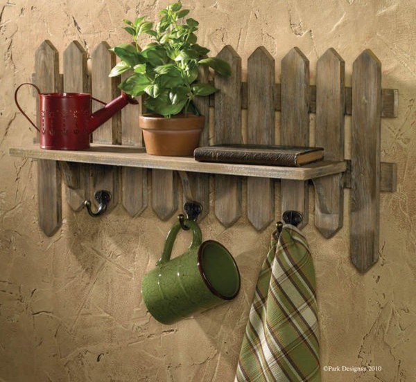Fence Display Ideas: Picket Fence Herb Garden Shelf With Hooks