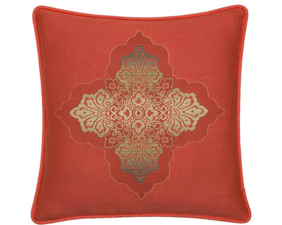 "Elaine Smith Luxury Outdoor Pillows - Elaine Smith Pillows Galapagos Coral Medallion - 20"" x 20"" - Elaine Smith pillow collections is the world's first and only line of outdoor luxury pillows. They start with the best, solution dyed yarns and work with the finest U.S. mills to create beautiful, long lasting quality products. These pillows can withstand nature and human nature, resisting sun, rain, and stains."