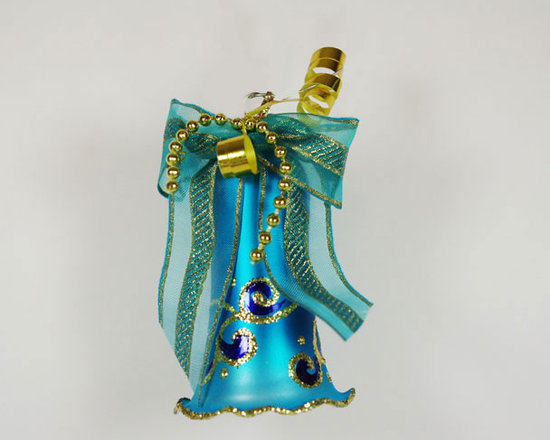 """Bell """"Joy"""" Hand Blown Christmas Ornament - This vintage style hand blown Christmas Tree ornament is 4'' (100mm) tall and made of hand blown glass. It is hand painted by a skilled artist and will be a beautiful addition to your Christmas ornaments collection. Artists use same painting technique that was used in 1800's. Each glass ornament is painted individually which makes them unique and adds some small variations to each product."""