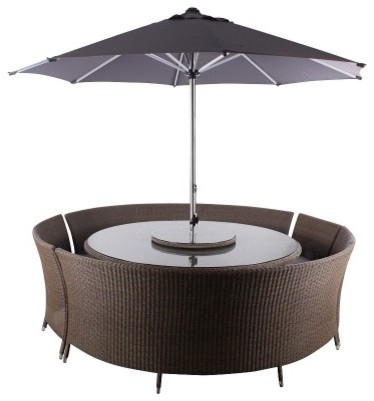 Leisuregrow Torino Curved Bench Furniture Set modern-outdoor-lounge-sets