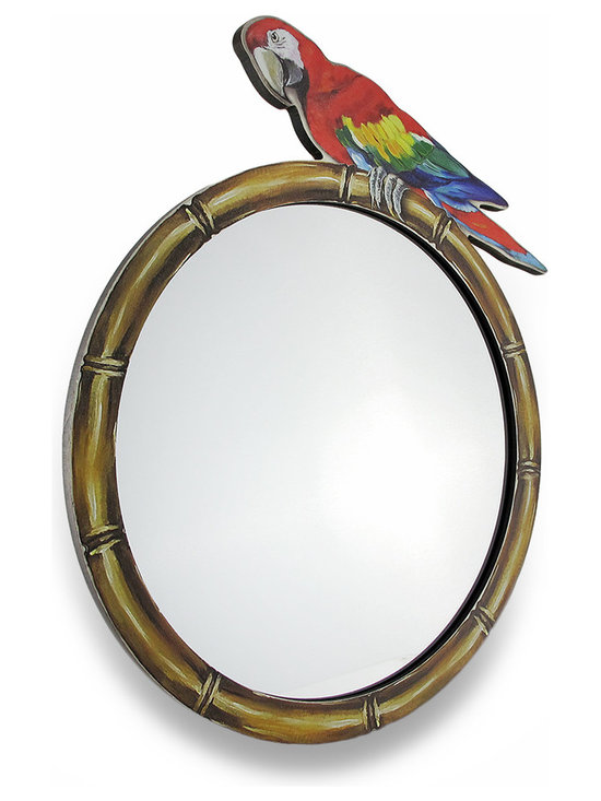 Zeckos - Tropical Perched Parrot Round Hanging Wall Mirror - Mirror, mirror on the wall, who is the most exotic of all? It's you, of course Every time you gaze into this mirror, it's sure to instantly conjure images of the exotic tropics with its bamboo look frame, and colorful parrot perched on top This fun MDF wood mirrored wall hanging measures 16.5 inches (46 cm) high, 14.5 inches (37 cm) wide and 3/8 inch (1 cm) deep with an attached hanger on the back that makes mounting with a single nail or screw easy If you can't get to the tropics, bring the tropics home with this tropical parrot mirror that would also make a wonderful housewarming gift sure to be admired