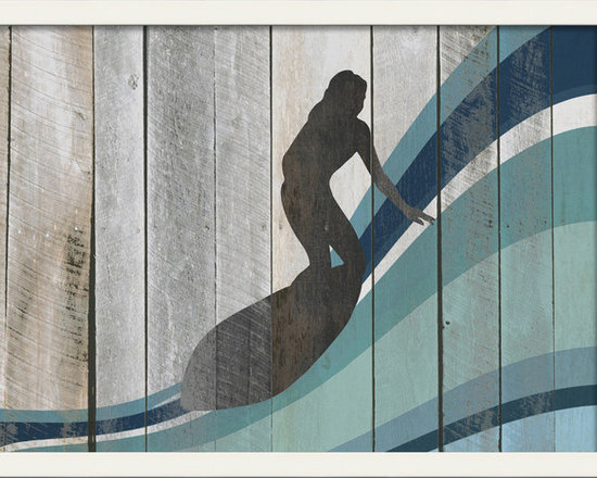 """The Artwork Factory - """"Surfer on Wave III"""" Print - As any surfer dude will tell you, it's not only guys that rule the waves. This silhouette print features a woman surfing an endless wave of blue-hued colors against a white, wood panel background, making it a stylistic piece of art that works well with any beach-themed space."""