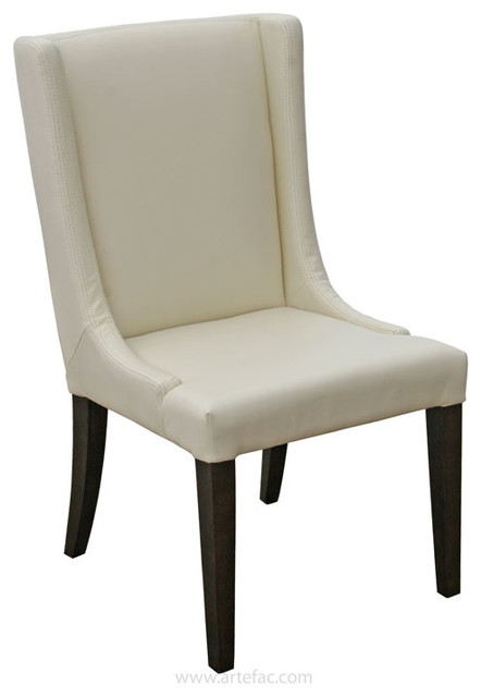 Wing back leather dining room chair cream contemporary for Wing back dining chairs