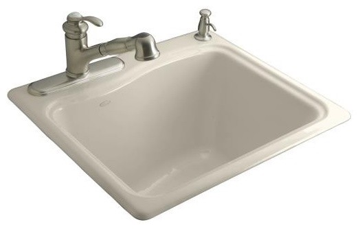 KOHLER K-6657-4-47 River Falls Self-Rimming Sink with Three-Hole Faucet Drilling traditional-kitchen-sinks