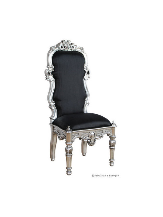 Noblesse Chair - Silver Leaf - This breathtaking high back chair is ornately carved and finished in opulent silver leaf and upholstered in beautiful black silk. With it's intricately carved legs and the beautifully carved backrest, this chair will make a statement in any room.