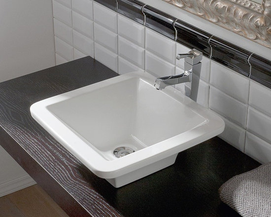 "Scarabeo - Beautiful Square White Ceramic Vessel Sink by Scarabeo - Designed and manufactured in Italy by Scarabeo. Beautiful modern square above counter vessel sink made of high quality white porcelain ceramic. Washbasin comes without overflow, has no faucet holes, and is designed with curved edges. Sink dimensions: 15.70"" (width), 5.70"" (height), 15.70"" (depth)"