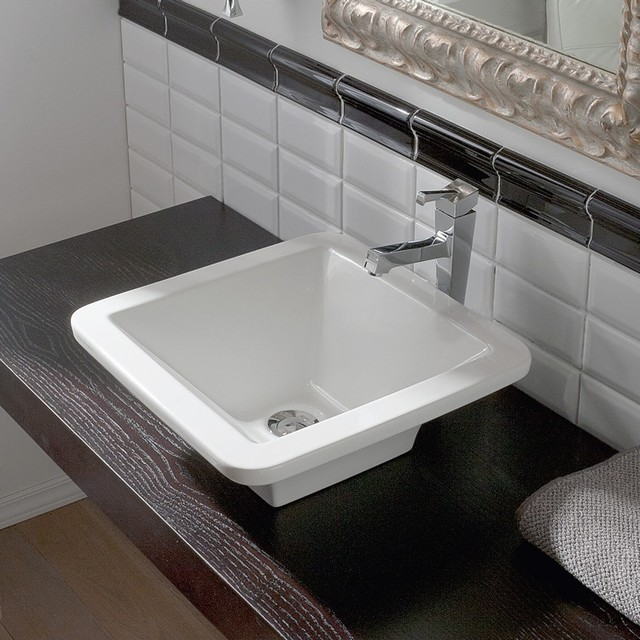 Square Bathroom Sinks : Square White Ceramic Vessel Sink by Scarabeo - Modern - Bathroom Sinks ...
