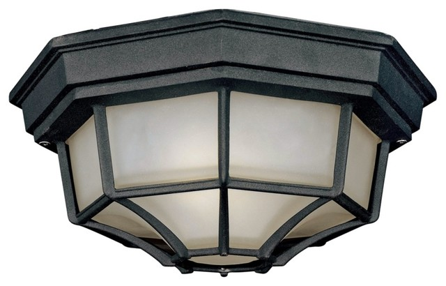 Black Finish 11 1 4 Wide Outdoor Ceiling Light Fixture Contemporary Outdoor Lighting