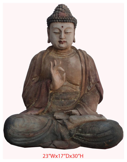 Buddha Statue Chinese Antique Wood Hand Carving Sitting - Asian - Sculptures - other metro - by ...