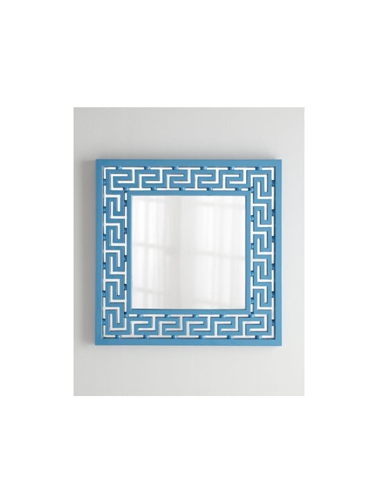 """Horchow - Greek-Key Mirror - Exclusively ours. A classic design updated with brilliant color makes this mirror a must-have decorating accessory. Made of polyurethane, wood composite, and mirrored glass. Hand-painted finish. 36""""Sq. x 2""""D. Imported. Boxed weight, approximately..."""