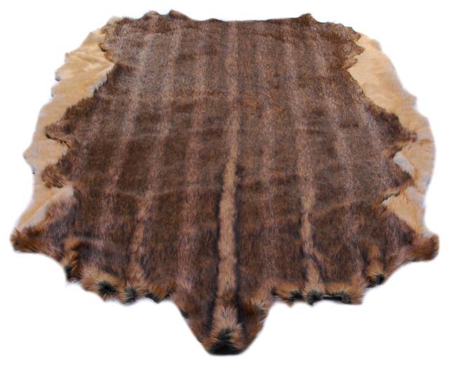 Fur Accents Pelt Rug, Brindle Faux Fur Hide, Floor Couture, 5x6 eclectic-rugs