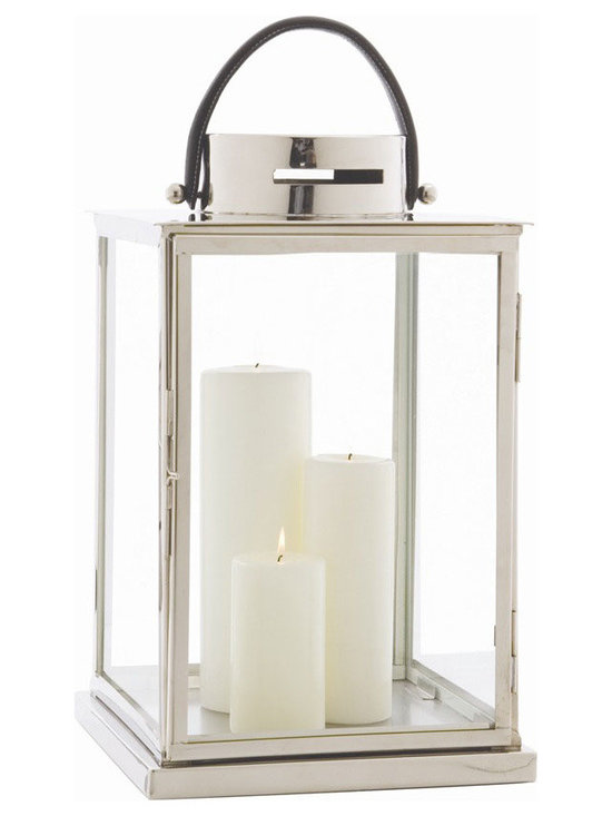 Arteriors Home - Albany Lantern - Albany Lantern is made of glass with a Polished Nickel frame and black leather handle making this the perfect hurricane to carry from place to  place as needed. The generous size begs to be filled with an assortment of pillar candles. 12 inch width x 24 inch height x 12 inch depth.
