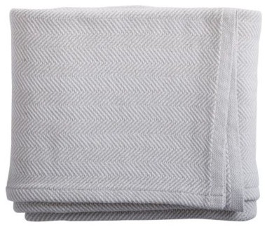 Oyster Herringbone Bed Blanket traditional-bedding